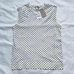 J. Crew women's white&black polka dot vest top